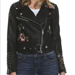 Driftwood embroidered moto faux leather jacket M